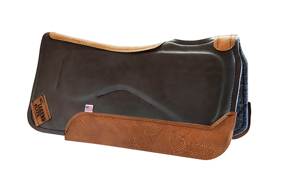 Legend Elite Saddle Pad with gray felt underside, dark brown eco-friendly leather cover, and brown leather finishing