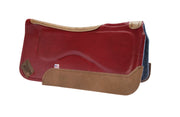 Legend Elite Saddle Pad with gray felt underside, red eco-friendly leather cover, and brown leather finishing
