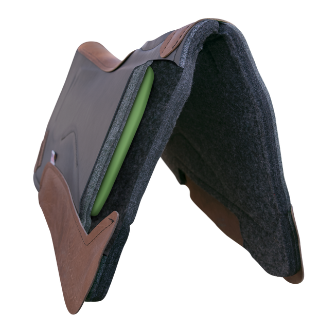 Front view of Legend Elite Saddle Pad with gray felt underside, gray eco-friendly leather cover, and brown leather finishing. Cutout window shows Impact Gel technology sandwiched between felt layers.