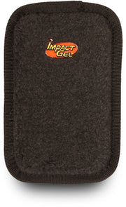 Rectangular shaped Mile Buster Motorcycle Seat Cushion- black fleece top with Impact Gel logo