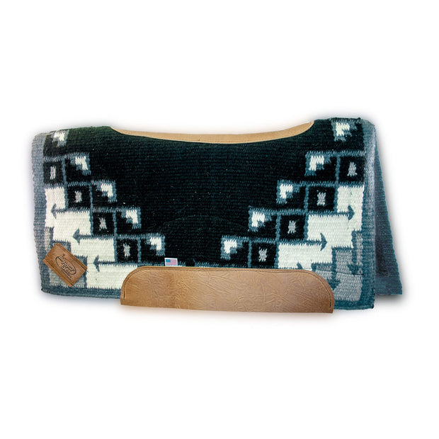 Contour Pueblo Woven Saddle Pad- black and gray with brown leather