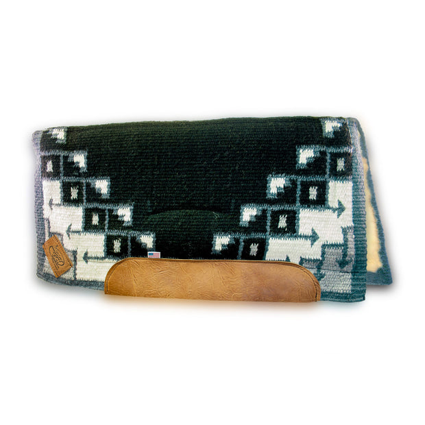Straightback Pueblo Woven Saddle Pad- black and gray with brown leather and fleece underside