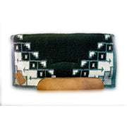 Straightback Pueblo Woven Saddle Pad- black and gray with brown leather