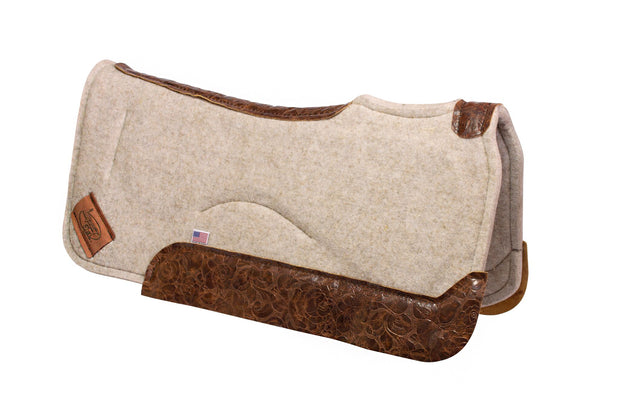 Contour saddle pad in tan felt with brown floral leather