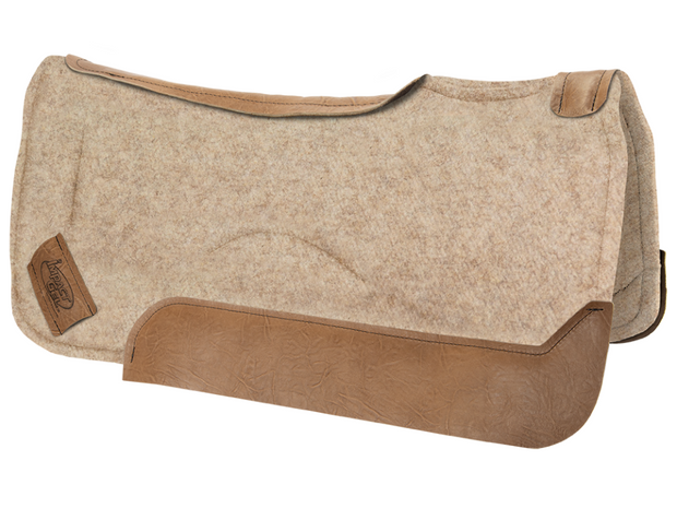 Contour tan saddle pad with brown leather