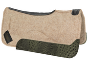 Contour tan saddle pad with black leather at the spine and green croc wear leather