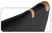 Underlayment Saddle Pad- black with brown leather close-up of spine that is open for breathability