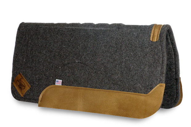 Gray Straightback Saddle Pad with brown leather
