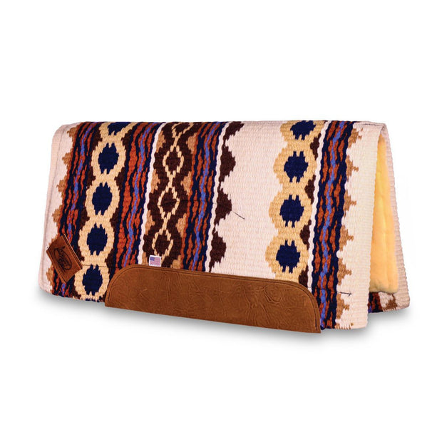Straightback Riverland Woven Saddle Pad- white, brown, and orange with brown leather with fleece