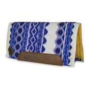 Straightback Riverland Woven Saddle Pad- purple and white with brown leather with fleece