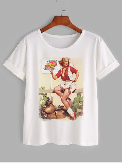 Junior Women's Tee with Red Vintage Pin-up Girl
