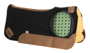 Contour saddle pad in black felt with brown leather and fleece underside. A cutout window shows the placement of perforated Impact Gel technology.