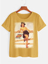 Junior Women's Tee with Yellow Vintage Pin-up Girl
