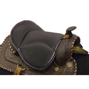 Saddle Seat Cushion with black mesh placed on a saddle