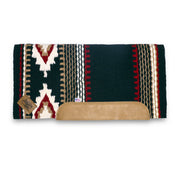 Straightback Cowtown Woven Saddle Pad in black, red, and white with stripe and diamond shape pattern