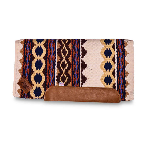 Straightback Riverland Woven Saddle Pad- white, brown, and orange with brown leather