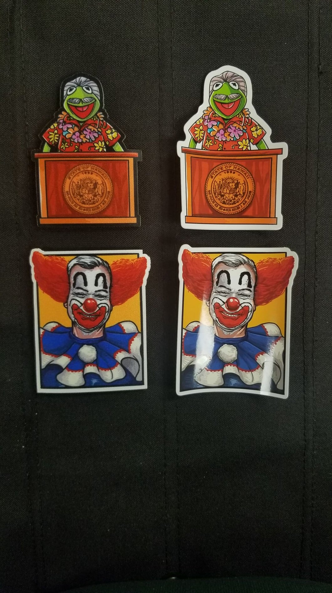 Clownwell and Da Gov Patch and Sticker Combo