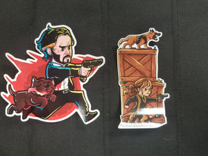 Wick and Pup and Sofia Sticker Combo
