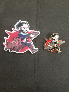 John Wick and Pup Patch and Pin Combo