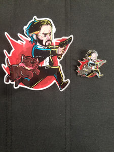 John Wick and Pup Pin and Sticker Combo
