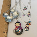 Jewelry LOT J100 Matryoshka Babushka Doll Locket & Triple Layer Necklace