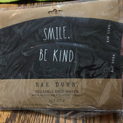 Rae Dunn Cloth Reusable Face Masks Set of 2 SMILE & BE KIND