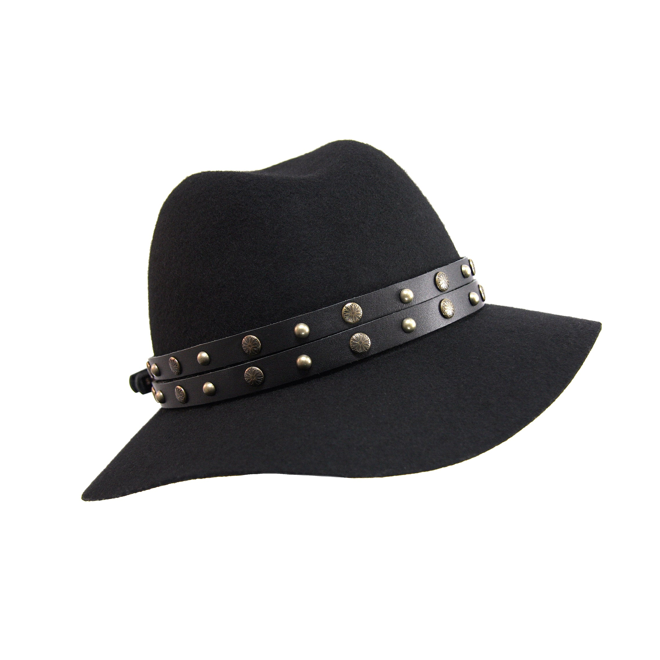 44bb05a4bc1 Black Leather Antique Brass Studded Hat Band – Fonda James