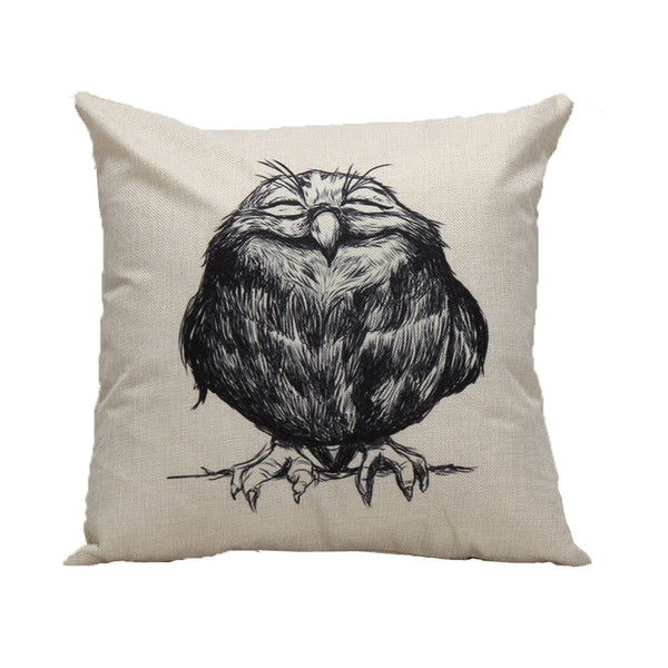 Vintage Owl Pillow Case Cushion Cover 45x45cm
