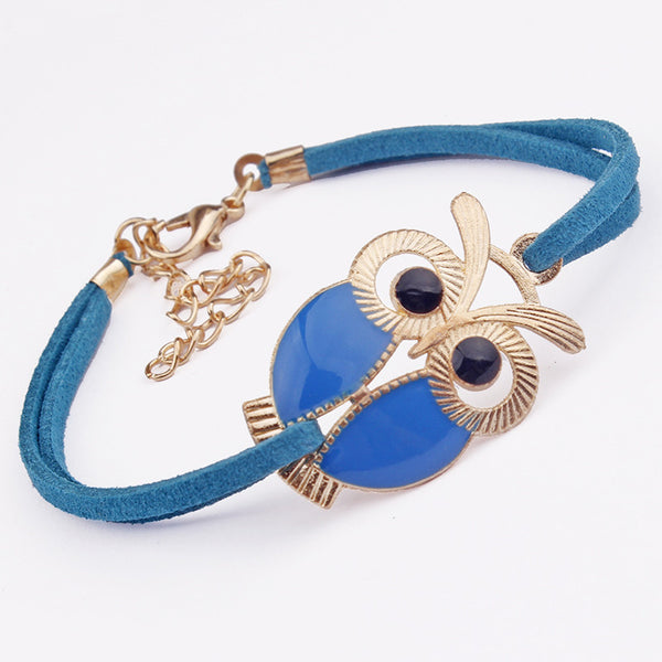 Girls Vintage Owl Leather Bracelets