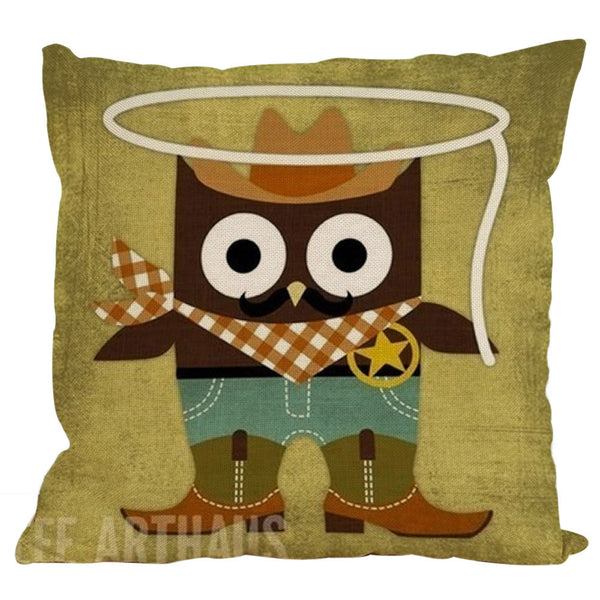 Owl Pillow Case Cushion Cover 45x45cm
