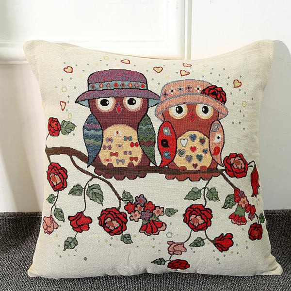 Cute Owl Pillow Case Cushion Cover 45x45cm