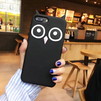 Lovely Black owl silicone case for iphone 4 4s 5 5s 6s 6plus 7plus