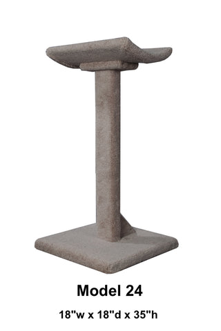 "Model 24 -35"" Tall Cat Scratch Post With Lounge Bed"