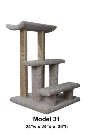 Model 31 - 3' Tall Cat Tree With Sisal Rope.