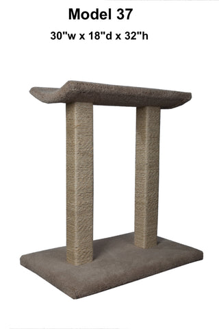 "Model 37 - 32"" Tall Sisal Rope Cat Scratching Post With Lounge Bed"