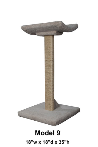 "Model 9 - 35"" Tall Sisal Rope Scratch Post With Lounge Bed"