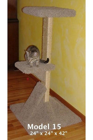 "Model 15 - 42"" Tall Sisal Rope Cat Scratch Post With Platforms"