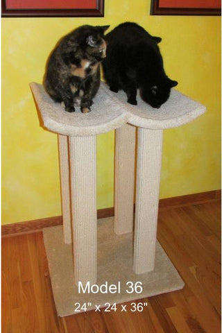 Model 36 - 3' Tall Cat Tree With Double Lounge Beds