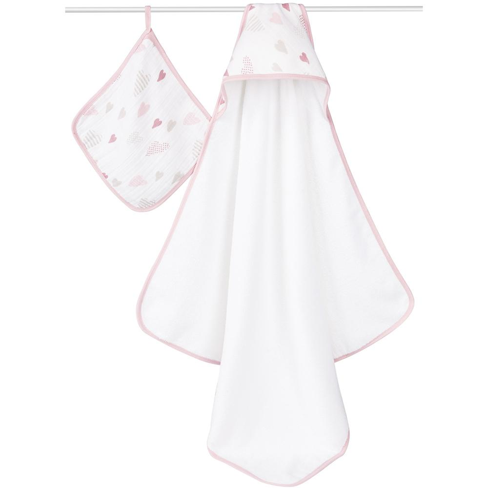 aden+anais Hooded Towel & Washcloth Set Heartbreaker