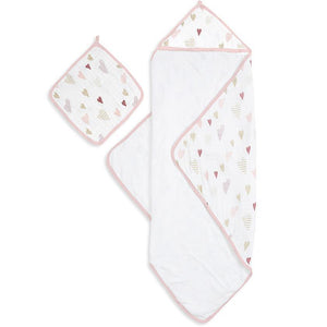 Aden+Anais Hooded Towel &  Washcloth Heartbreaker