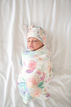 Copper Pearl Newborn Top Knot Hat - Bloom