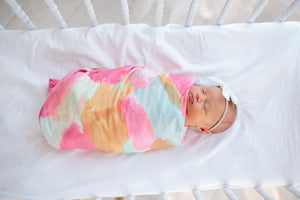 Copper Pearl Knit Swaddle Blanket - Monet