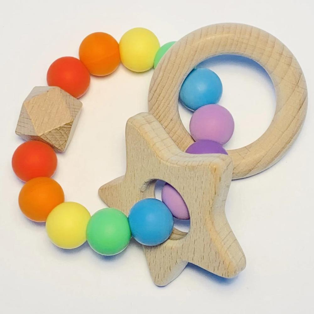 Sugar + Maple Silicone & Beechwood Teether - Rainbow Baby
