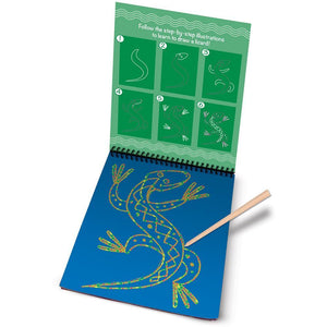 Melissa & Doug On-The-Go Scrach Art Learn-To-Draw Pad Pets