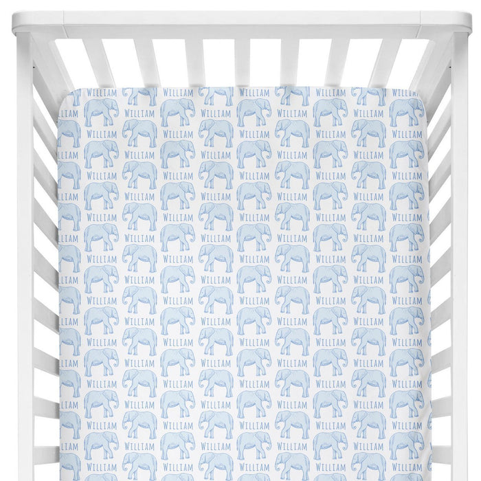 Sugar + Maple Crib Sheet - Elephant Blue