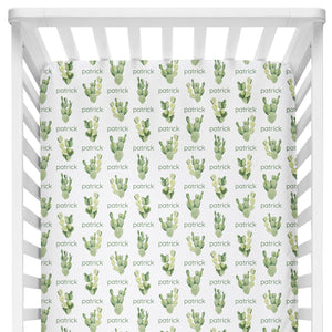 Sugar + Maple Crib Sheet - Cactus
