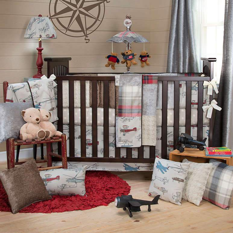 Glenna Jean Fly-By 3-Piece Bedding Set (Includes quilt, grey dot sheet & crib skirt)