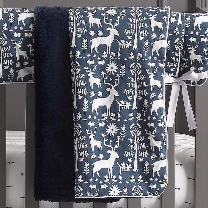 Liz & Roo Woodland Forest Blanket- Navy