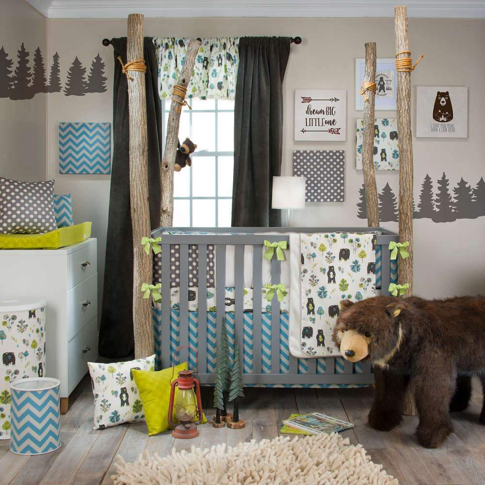 Glenna Jean North Country 4-Piece Bedding Set (Includes quilt, bumper, bear sheet & crib skirt)