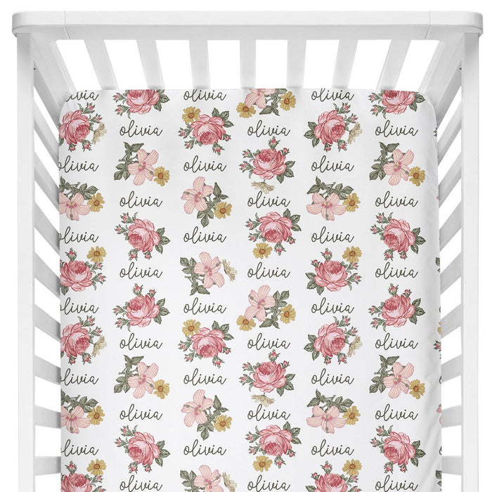 Sugar + Maple Crib Sheet - Retro Rose